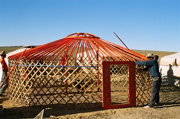 Yurt Without Cover Showing Wall Lattice and Roof Poles