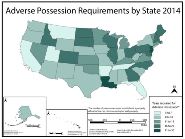 Map of Adverse Possession Laws in the US