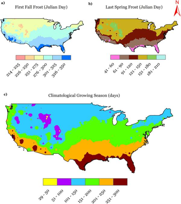 Length of Growing Season in the US (src)