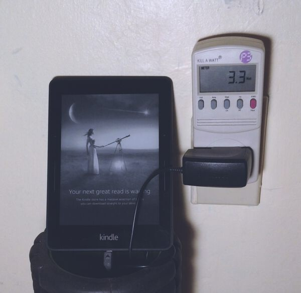 Kill A Watt Meter Measuring 3.3W Usage by Kindle Charger